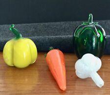 CZECH Hand Blown Glass Fruit & Vegetables 4 Piece S pepper garlic Murano style