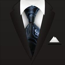 VS Classic Striped WOVEN JACQUARD Silk Men's Suits Tie Necktie Blue Flower M072