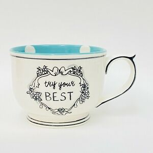Anthropologie Katie Mandy TRY YOUR BEST White Aqua Polka Dots Coffee Mug 3.25""