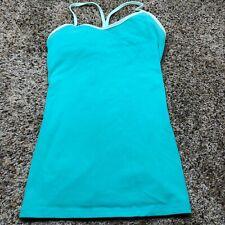 Lululemon Size 6 Padded Tank Top Blue Green Y-Back Stretch Yoga Running Shirt