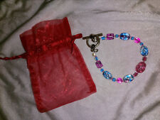 With Red Jewelry Gift Bag Pretty Multi-Color Beaded Toggle Bracelet
