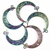 5Pcs 40x8x1mm Rainbow Tibetan Silver Carved Moon Pendant Bead 13g A-SH802