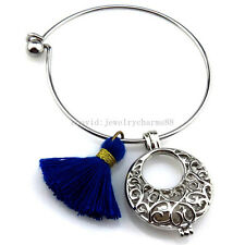 KB101 Copper Round Bib Pearl Akoya Oyster Cage Tassel Stainless Steel Bracelet