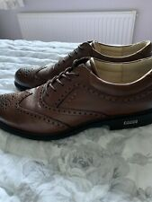 Mens Ecco Golf Shoes Size 46 / 12 Brown Leather Soft Spikes Hardly Worn