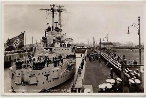 """1939 WWII German Navy Military Battle Ship """"Schlesien"""" Photo POSTCARD Original"""