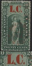 Canada VanDam # QL2 20c green Quebec Law ovpt LC (lowered dot)  1864
