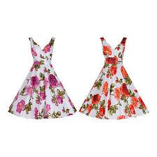 40's 50's Style Vintage Rose Print Floral Cotton Bridesmaid Party Tea Dress 8-20