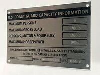 BOAT CAPACITY Coast Guard Aluminum Plate Custom Engraved Bass Tracker Weldcraft