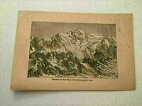 KP22) View of Mont Blanc French Swiss Alps Mountains 1887 German Engraving 571