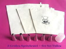 3 SPRITZBEUTEL + 6 er Tüllen Baumwolle 35 /40 / 47cm Torte Garnierbeutel SC124