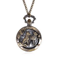 Retro Bronze Animal Wolf Vintage Pocket Watches Pendant Quartz Necklace Chain LU