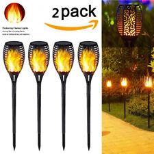 US 2PCs 33LED Solar Power Torch Light Flickering Flame Garden Waterproof Lamp