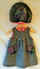 Harris Tweed & Pure Laine Tartan Baby-Tablier & Chapeau Set Age 12 Mois (1 an)