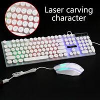US Computer Desktop Gaming Keyboard and Mouse Mechanical Feel Led Light Backlit