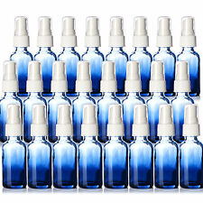 1oz Boston Round Shaded Blue Glass Bottles. W/ White Fine Mist Sprayers 24 New