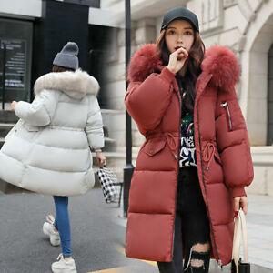 Women Winter Coat Down Jacket Ladies Fur Hooded Long Quilted Puffer Parka Outwea