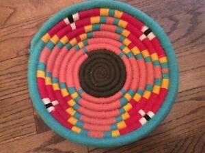 Southwestern multicolor cottagecore handmade fruit veggies egg basket decor 11in