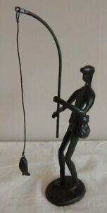 CAST IRON ORNAMENT FISHING FISHERMAN WITH ROD & FISH DECORATIVE GIFT UK SELLER