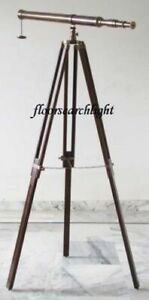 SOLID BRASS TELESCOPE NAUTICAL SPYGLASS 155 CM Ht. WITH WOODEN TRIPOD STAND