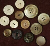 Assortment of 13 Antique Vintage Mother of Pearl Buttons
