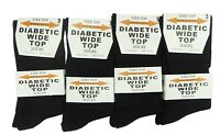 Ladies Womens Girls 100% Cotton Black Socks, Diabetic Wide Top Socks Size 4-6