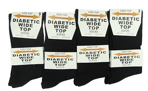 Ladies Womens Girls 100% Cotton Black Socks, Diabetic Wide Top Socks Size 4-6
