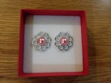 Brand New silver look flower earrings with a peach pearl centre + box