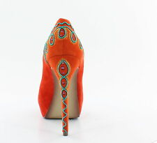 NIB Boutique 9 CHRYSO orange embroidered leather platform pumps heels shoes 7,5