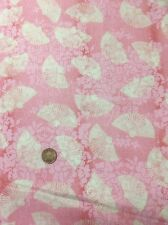 100% Cotton Quilting Craft Fabric Oriental Chinese Fans On Pink Visit Paris
