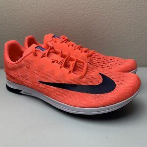 Nike Zoom Streak LT 4 Spike Flat Track Running Shoes Coral Orange Mens Size 9