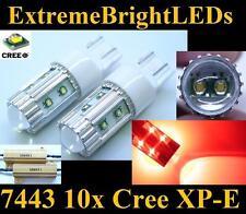 TWO RED 50W 10x Cree XP-E 7440 7443 LED Turn Signal Lights + 2 Load Resistors