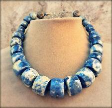 BLUE GENUINE SODALITE DENIM GEMSTONE NECKLACE AFRICAN BRASS BEAD BIG XL JEWELRY