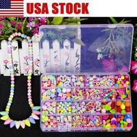 650 Girl Kids DIY Bracelet Arts Craft Make Own Beads Jewellery Making Set Box US