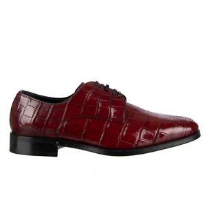 DOLCE & GABBANA 8500€ Krokodilleder Derby Schuhe VENEZIA Bordeaux Rot 09501