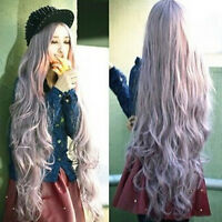 Girl New Wavy Very Long wigs Women Cosplay Curly Lavender Hair Girl Lilac Full