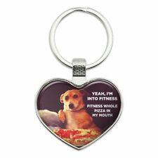 I'm Into Fitness Pizza in my Mouth Keychain Heart Metal Keychain