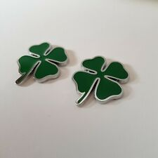 2 Lucky Clover Leaf Green Silver Metal Badge for Ford Fiesta Focus Mondeo KA ST