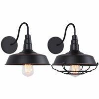 Retro Industrial Loft Barn Wall Light Fixture Metal Shade Gooseneck Sconces Lamp