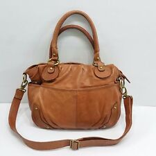 Essence Made in India Tan Leather Shoulder Satchel w Removable Strap Purse