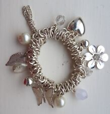 Silver Tone Charm Stretch Butterfly Heart Flower Bead Bracelet