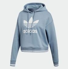 Adidas Originals Women's ACTIVE ICON CROPPED Hoodie Raw Grey/White DH2943 c