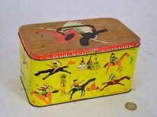 Scatola Latta Bertolini Vintage Serigrafie indiani cow-boy CaroselloTin Box-1HF