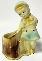 Vintage Shawnee Art Pottery Planter Vase Boy With Tree Stump USA 533
