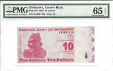 Zimbabwe, 10 Dollars, 2009, P-94, Uncirculated PMG 65 EPQ