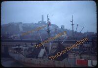 San Francisco Port Harbor USSR Ship 1940s 35mm Slide Kodachrome Fishermans Wharf