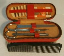 Vintage Ladies Travel Set Brush and Comb. Nail File Sewing Scissor Tweezers Ger.