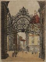 Old German Silkscreen Print on Fabric Signed in Plate Showing Wien Street Scene