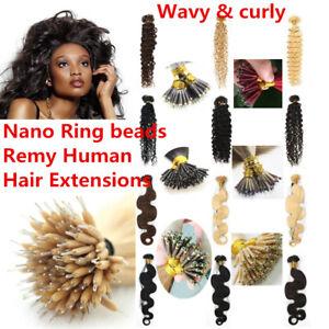 "7A 16""-22"" Wavy Fusion Keratin Nano Ring Beads I Tip Remy Human Hair Extensions"
