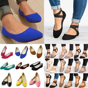 Womens Ballet Ballerina Comfy Shoes Ankle Strap Slip On Flat Casual Sandals Size