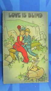 Vintage Reg Carter ? Comic Postcard 1900s Blind Fold Cupid LOVE IS BLIND